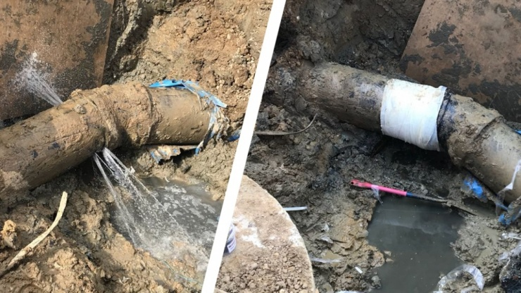An emergency pipe repair carried out on a leaking 450mm waste water pipe at a Water Treatment Works in the United Kingdom