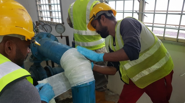 SylWrap Pipe Repair Solutions being used to carry out a repair in Malaysia