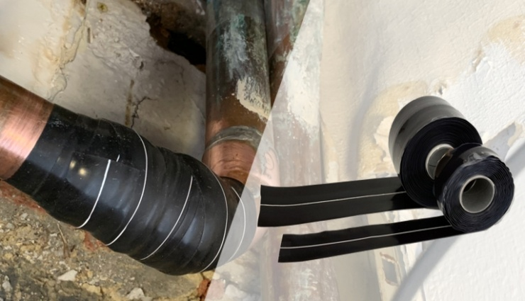 Wrap & Seal Pipe Burst Tape is a pipe repair tape that stretches to 300% to fix leaking pipes even when pressure cannot be turned off