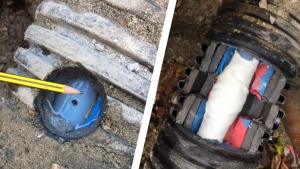 An underground heating pipe on a farm in the United Kingdom repaired using a SylWrap Universal Pipe Repair Kit