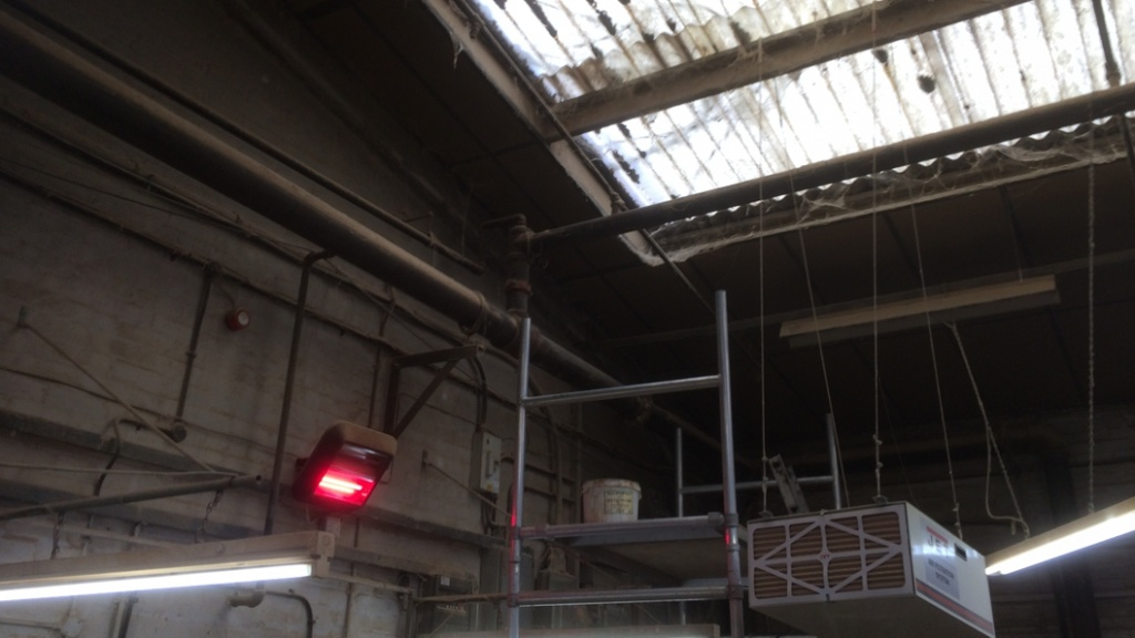 Pipework in the roof of a furniture workshop in the United Kingdom