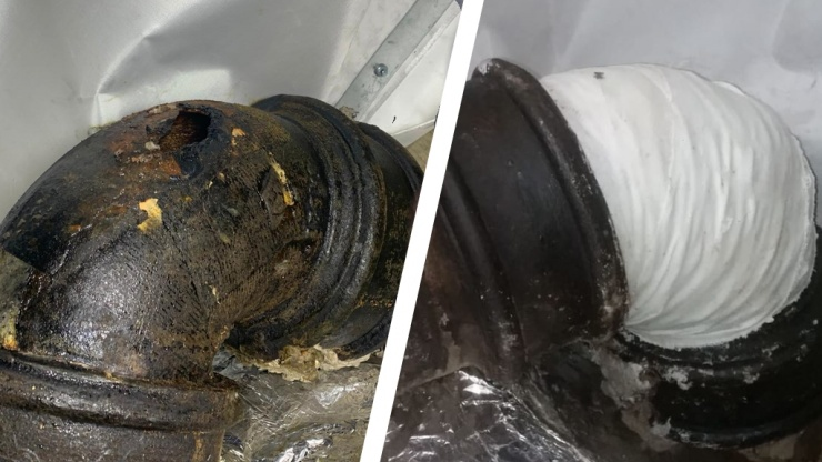 The repair of a leaking cast iron wastewater pipe at an iconic central London hotel