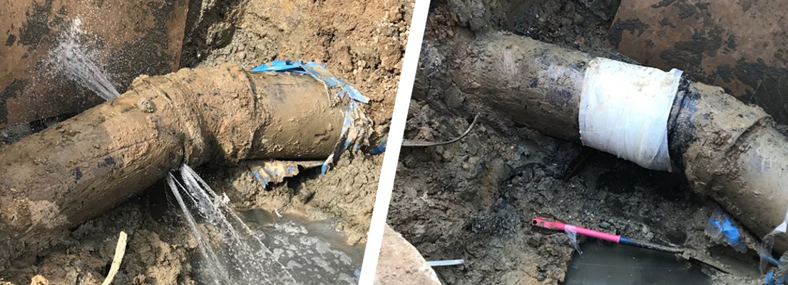 A breached wastewater pipe at a treatment works is repaired, preventing a potentially damaging environmental incident