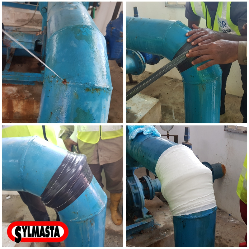 Live leak pipe elbow repair made in a Malaysia pumping house using a SylWrap Universal Pipe Repair Kit