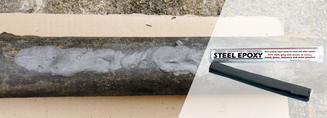 Superfast Steel Epoxy Putty is a metal repair putty for sealing holes and restoring surface profile to leaking metal pipes