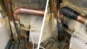 A domestic copper pipe leaking from a badly soldered joint undergoes repair with Wrap & Seal Pipe Burst Tape
