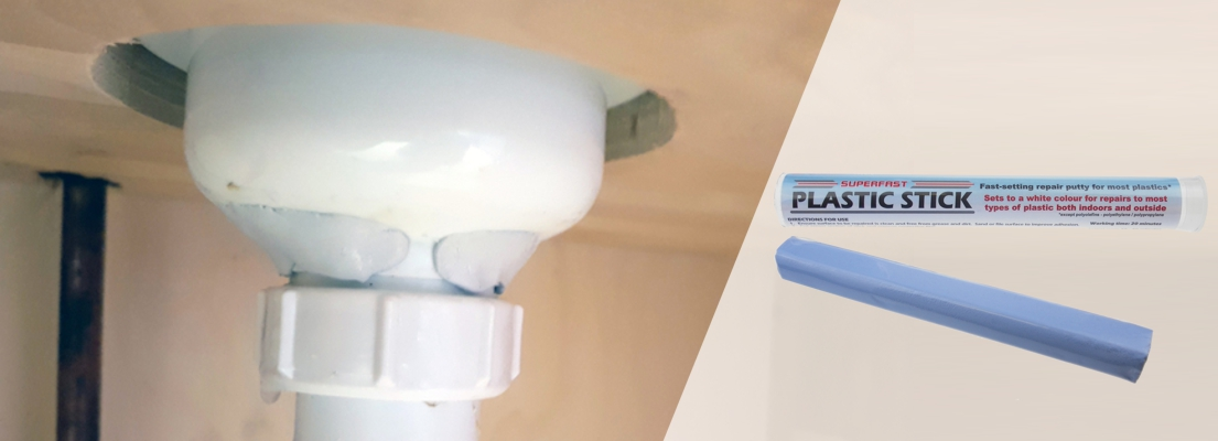 Superfast Plastic Epoxy Putty is used to repair leaking plastic PVC and ABS pipes