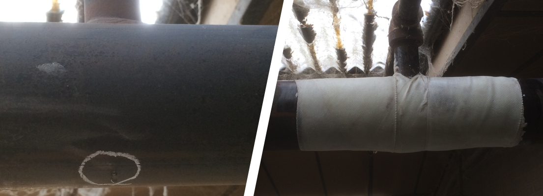 SylWrap Universal Pipe Repair Kit used to fix a pinhole leak in a steel pipe which was part of a sprinkler system in a factory