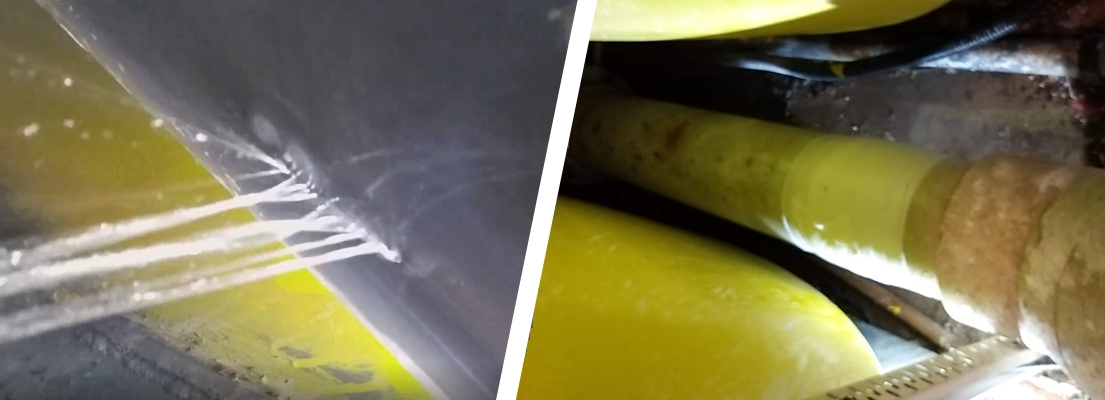 A SylWrap Live Leak repair carried out to a cracked PVC plastic pipe in a leisure centre swimming pool filtration system