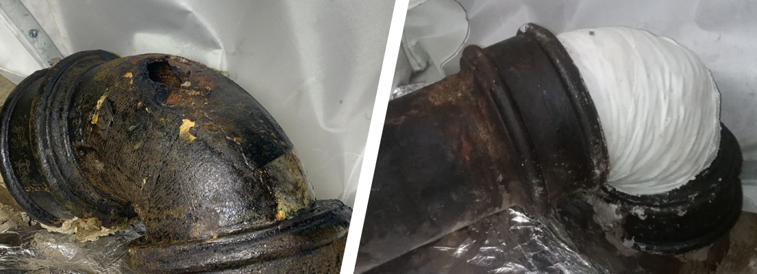 A SylWrap Pipe Repair Kit is used to fix a large crack in a cast iron wastewater pipe at a central London hotel