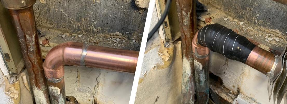Wrap & Seal used to repair a leaking soldered joint in a domestic copper pipe which formed part of a a property's heating system