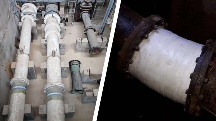 Reinforcement of weakened 450mm cast iron elbow joints takes place in a valve chamber