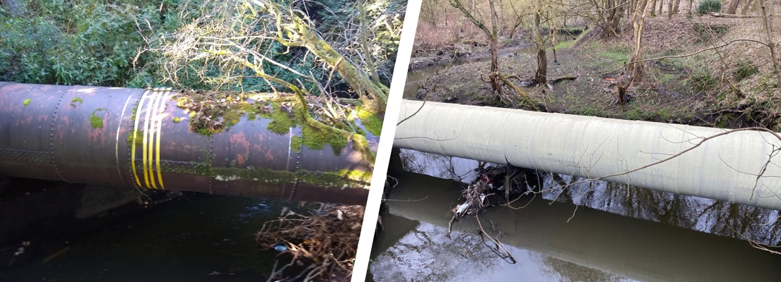 A pipe bridge carrying sewage across a stream in Lancashire undergoes leak repair and reinforcement