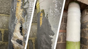 A SylWrap Pipe Repair made to an air conditioning pipe in a London hospital