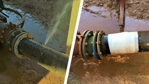 Repair of a plastic pipe in a UK quarry leaking from a pinhole