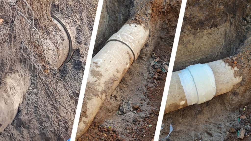 A 600mm asbestos cement pipe leaking from both ends of a sleeve undergoes repair using a SylWrap Pipe Repair Kit