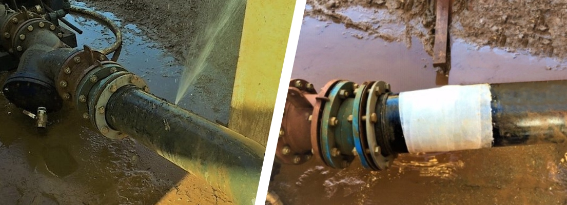 A pierced plastic pipe in a quarry aggregate wash plant undergoes repair using a SylWrap Pipe Repair Kit