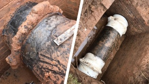 Leaking coupling joints on a 650mm ductile iron pipe located in an inspection pit are sealed using SylWrap Pipe Repair products