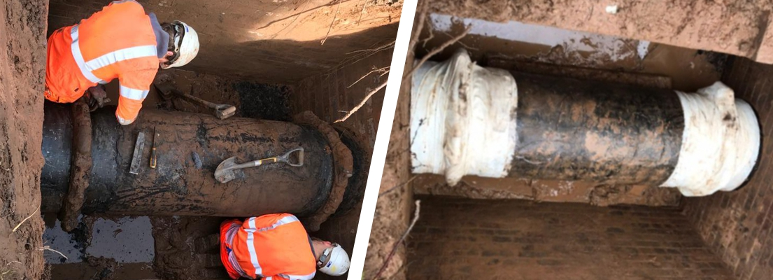 Two leaking coupling joints on a 650mm ductile iron pipe undergo repair