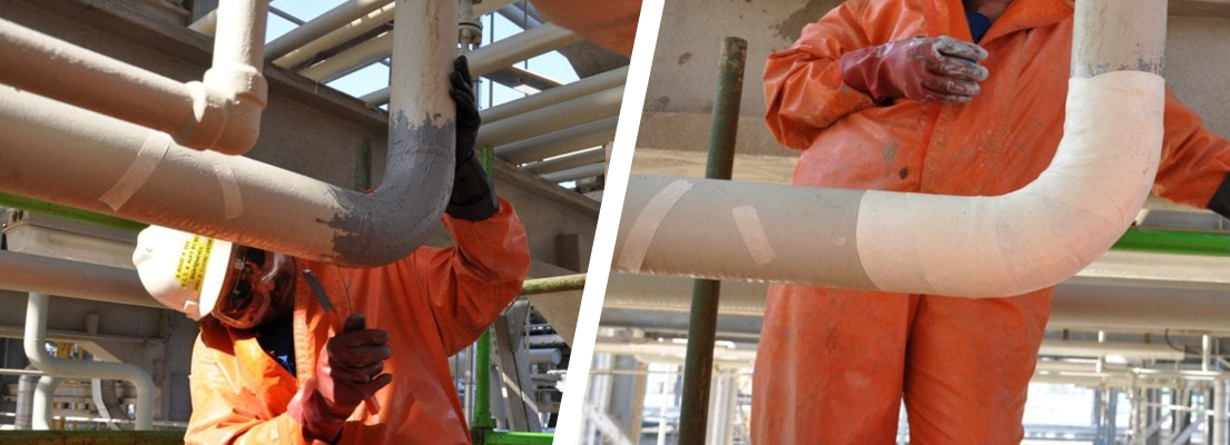 A 100mm sulphuric acid line in a petrochemical refinery undergoes reinforcement on a weakened elbow joint thanks to Sylmasta
