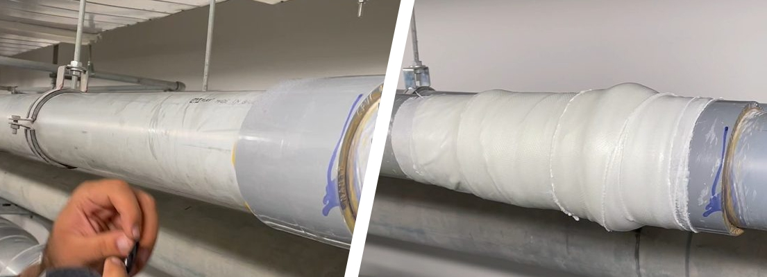 A leaking step joint on a 100mm UPVC pipe at Bahrain International Airport undergoes a live leak repair