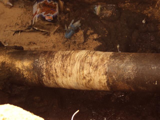 200mm underground fuel oil line completed repair using SylWrap Pipe Repair Kit