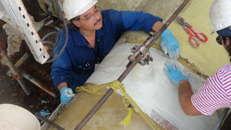 SylWrap HD used to strengthen a weakened 1500mm pipe in a Saudi Arabia seawater cooling system