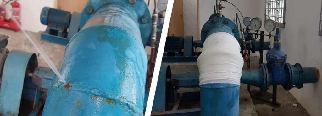 A pinhole leak in a 150mm steel elbow joint repaired using a SylWrap Universal Pipe Repair Kit