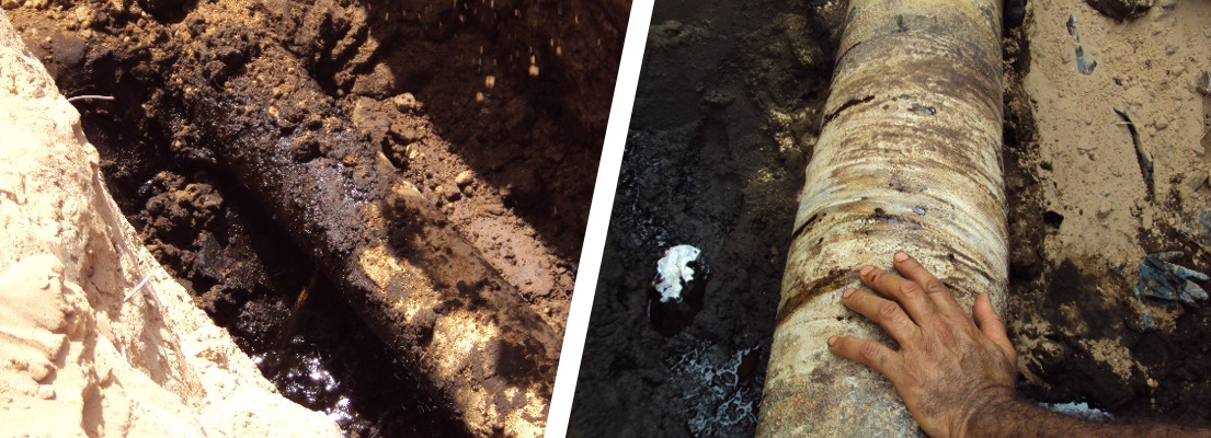 A leaking fuel oil line underground in Libya undergoes a leak repair after corrosion caused a small crack in the pipe