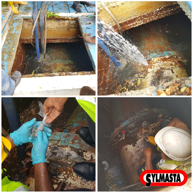 A 900mm steel water main in Malaysia leaking from a cracked flange undergoes repair using Superfast Steel Epoxy Putty